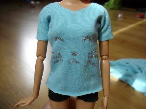 Ken doll in custom clothes - grey T shirt and sweatpants